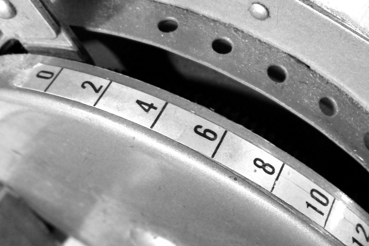 A monochrome photograph of our vintage tape machine, still going strong after decades of use.