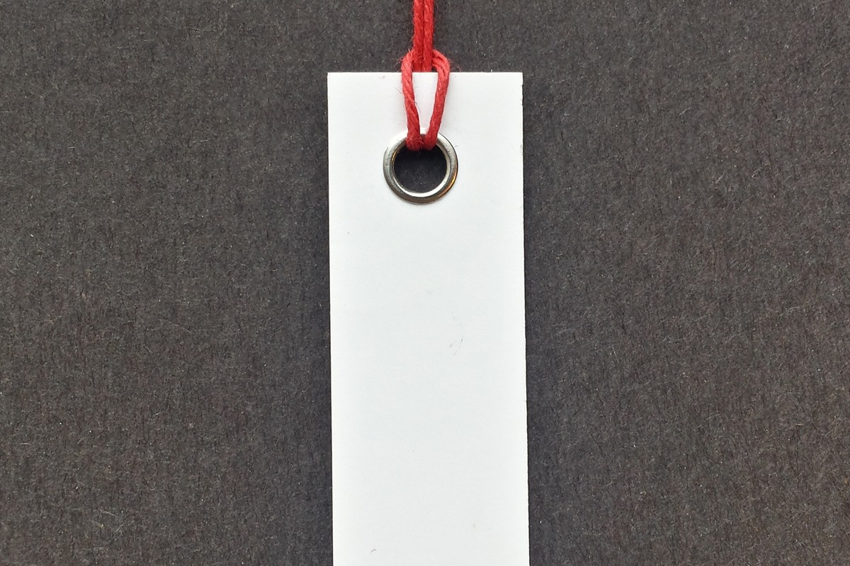 Photograph of a looped hang tag.