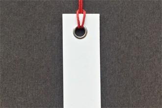 Photograph of a looped hang tag.