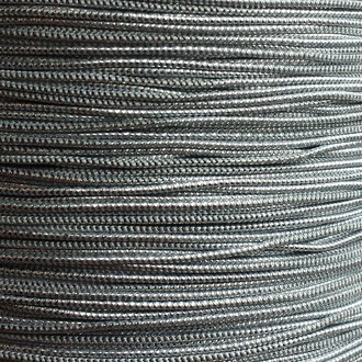 A spool of our silver metallic elastic.