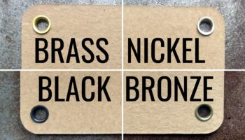 Image showing new metal eyelet finishes: brass, nickel, antique bronze, and dull matte black.